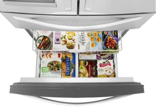 WHL FOUR PIECE SS PACKAGE WITH FRENCH DOOR REFRIGERATOR AND STEAM COOKING MICROWAVE HOOD