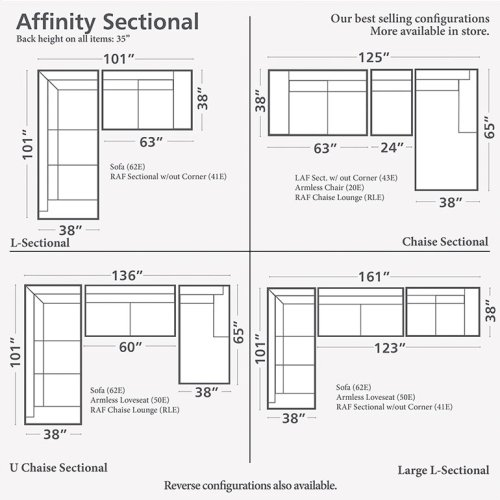 3 Seats on Left/Affinity Espresso Affinity Large L-Shaped Sectional