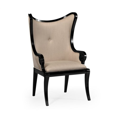"Black Painted ""Butterfly"" Upholstered Armchair"