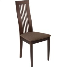 Hamlet Espresso Finish Wood Dining Chair with Framed Rail Back and Golden Honey Brown Fabric Seat