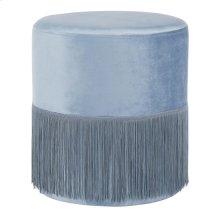 Fringe Ottoman - Powder Blue Velvet
