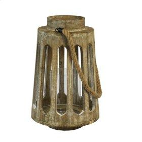 """Hanging Beige Wood Lantern 16.5"""""""