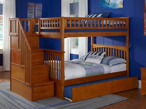 Columbia Staircase Bunk Bed Full over Full with Urban Trundle Bed in Caramel Latte