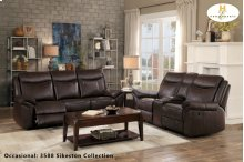 Double Reclining Sofa with Center Drop-Down Cup holders, Receptacles and Hidden Drawer