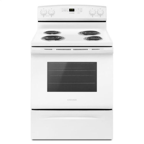 30-inch Electric Range with Self-Clean Option - white