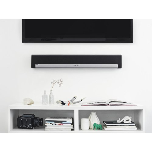 Black- The soundbar for music lovers - mounted on the wall.