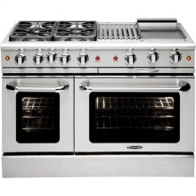 "48"" Gas Convection Range with 4 Seal Burners 19K BTU + 12"" BBQ & Griddle"