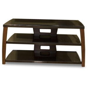 "Techcraft42"" Wide Stand, Solid Wood Walnut Finish Accents, Easy Assembly, Accommodates Most 47"" and Smaller Flat Panels"