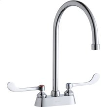 """Elkay 4"""" Centerset with Exposed Deck Faucet with 8"""" Gooseneck Spout 6"""" Wristblade Handles Chrome"""