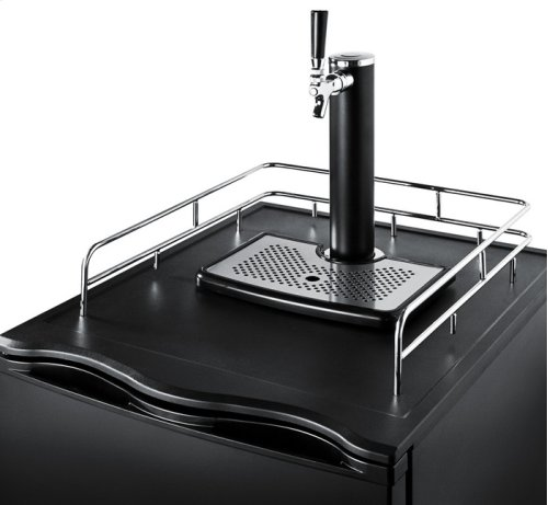 Beer dispenser for freestanding household use, with factory installed lock and black exterior