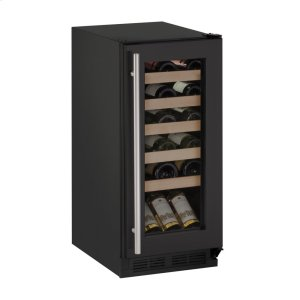 "U-Line1000 Series 15"" Wine Captain(r) Model With Black Frame Finish and Field Reversible Door Swing (115 Volts / 60 Hz)"
