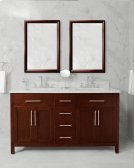 White MALIBU 60-in Double-Basin Vanity Cabinet with Crema Marble Stone Top and Karo 18x12 Sink Product Image