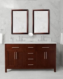 White MALIBU 60-in Double-Basin Vanity Cabinet with Carrara Marble Stone Top and Muse 18x12 Sink