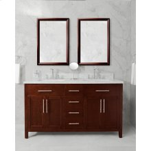 White MALIBU 60-in Double-Basin Vanity Cabinet with Carrara Marble Stone Top and Karo 18x12 Sink