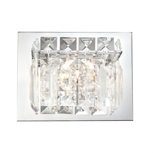 Crown 1-Light Vanity Sconce in Chrome with Clear Crystal