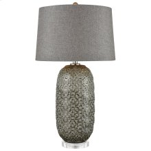 Malaga Table Lamp In Glazed Gray Ceramic With Geometric Pattern and Grey Linen Hardback Shade