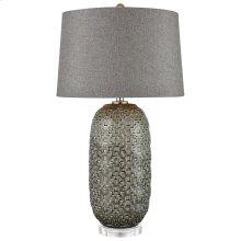 Malaga Table Lamp In Glazed Gray Ceramic With Geometric Pattern and Grey Linen Hardback Shade