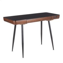 Boom Desk - Black Metal, Walnut Wood, Black Tempered Glass