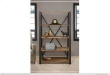 "70"" Wood and Metal Bookcase"