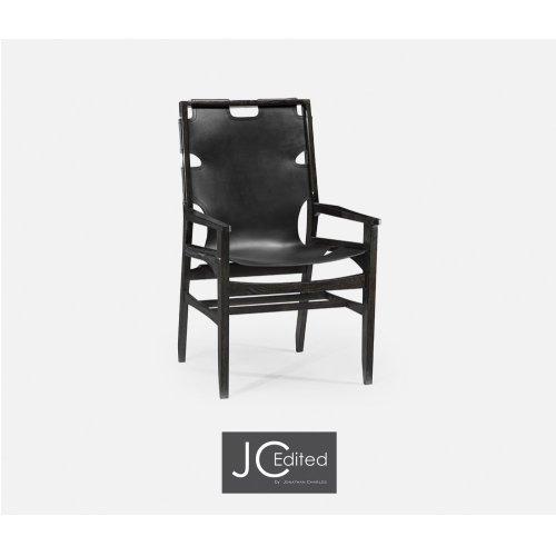 Midcentury Style Slung Black Leather & Black Mocha Oak Dining Armchair