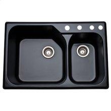 Matte Black Allia Fireclay 2 Bowl Drop-In Kitchen Sink