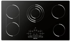 "Black Glass 36"" 5 - Element Electric Radiant"