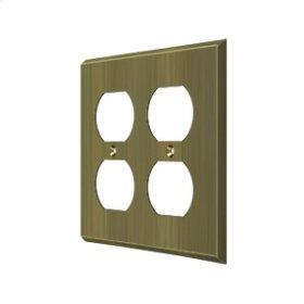 Switch Plate, Quadruple Outlet - Antique Brass