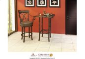 "30"" Memory Swivel Barstool with Faux Leather seat and back, Brown finish on iron w/Arms"
