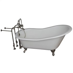 "Icarus 67"" Cast Iron Slipper Tub Kit - Brushed Nickel Accessories - White"