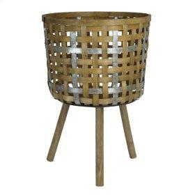 "Bamboo Planter/basket, Wood Tripod 29.8"""