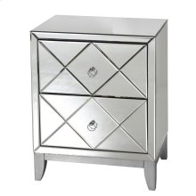2 Drawer Mirrored Side Table With Cross-hatch Mirror Drawer Fronts and Silver Leaf BASE.
