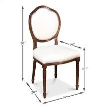 Louis Xvi Round Side Chair,Walnut,White