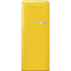 "SmegApprox 24"" 50'S Style Refrigerator with ice compartment, Yellow, Left hand hinge"