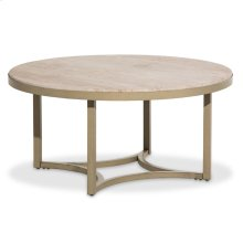 Alta Round Cocktail Table W/travertine Marble Top