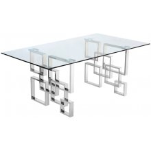 "Alexis Chrome Dining Table - 78"" W x 39"" D x 30"" H"