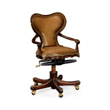 Adjustable Kidney Desk Chair in Medium Antique Chestnut Leather