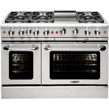"48"" Gas Convection Range with 6 Sealed Burners 19K BTU + 12"" Griddle"