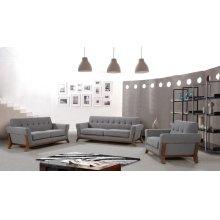 Nova Domus Soria Modern Grey Fabric Sofa Set