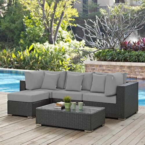 Sojourn 5 Piece Outdoor Patio Sunbrella® Sectional Set in Canvas Gray