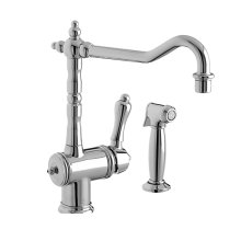 Victorian Kitchen Faucet with Side Spray - Polished Chrome