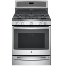"""GE Profile Series 30"""" Dual-Fuel Free-Standing Convection Range with Warming Drawer"""