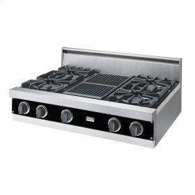 "Black 36"" Open Burner Rangetop - VGRT (36"" wide, four burners 12"" wide char-grill)"