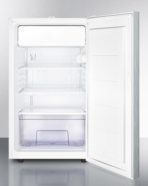 """ADA Compliant 20"""" Wide Built-in Refrigerator-freezer With A Lock, Stainless Steel Door, Horizontal Handle and White Cabinet"""