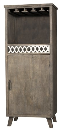 Artesa Tall Wine Bar Cabinet - Bone Drawer Fronts - Distressed Brown Gray