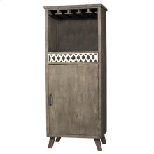 Artesa Tall Wine Bar Cabinet - Bone Drawer Fronts - Distressed Brown Gray
