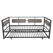 Maddie Taupe and Black Daybed With Trundle