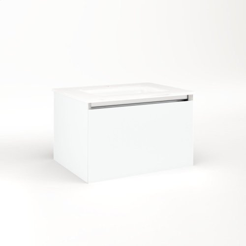 """Cartesian 24-1/8"""" X 15"""" X 18-3/4"""" Single Drawer Vanity In Matte White With Slow-close Plumbing Drawer and No Night Light"""