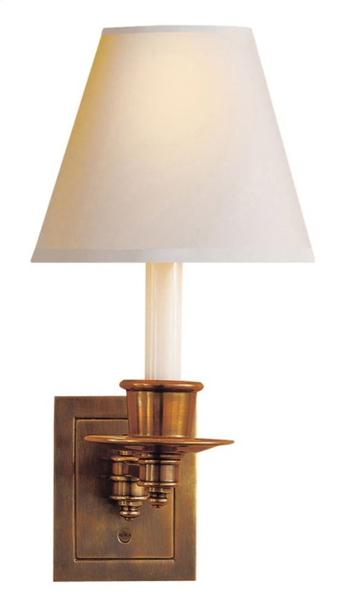 Visual Comfort S2005HAB-NP Studio 7 inch 40 watt Hand-Rubbed Antique Brass Swing-Arm Wall Light in Natural Paper