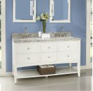 "Shaker Americana 60"" Open Shelf Double Bowl Vanity - Polar White Product Image"