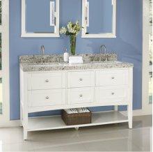 "Shaker Americana 60"" Open Shelf Double Bowl Vanity - Polar White"